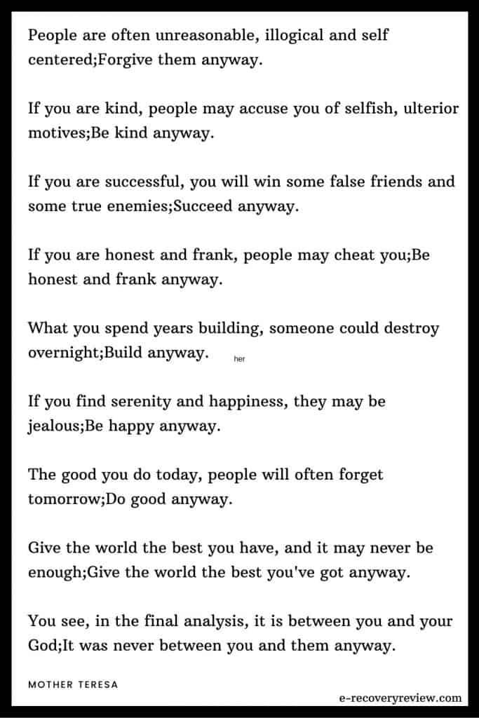 Mother Teresa anyway poem